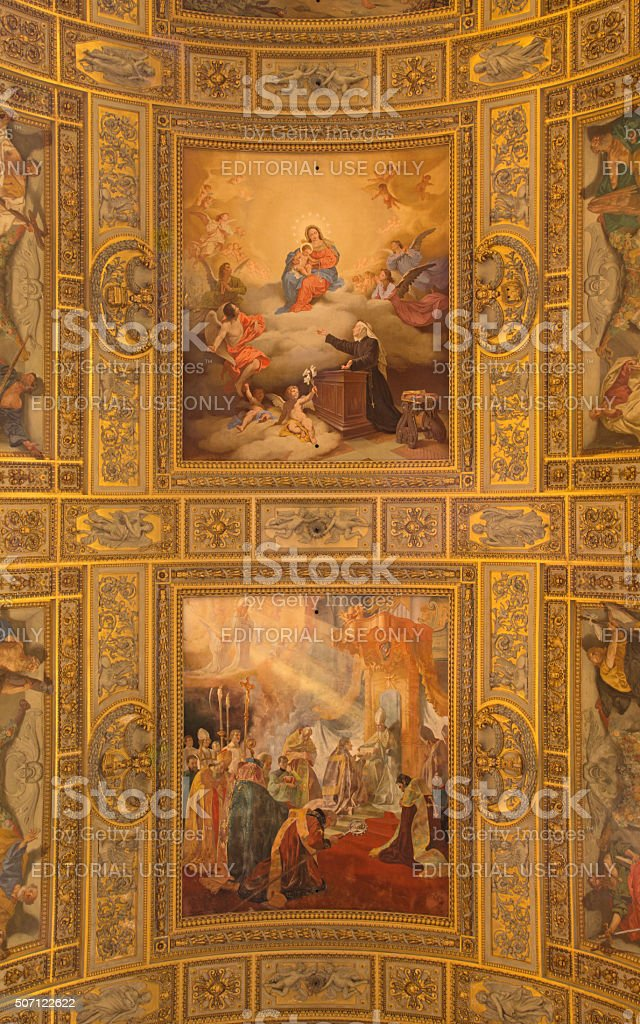 Rome - ceiling in church Sant Andrea della Valle. stock photo