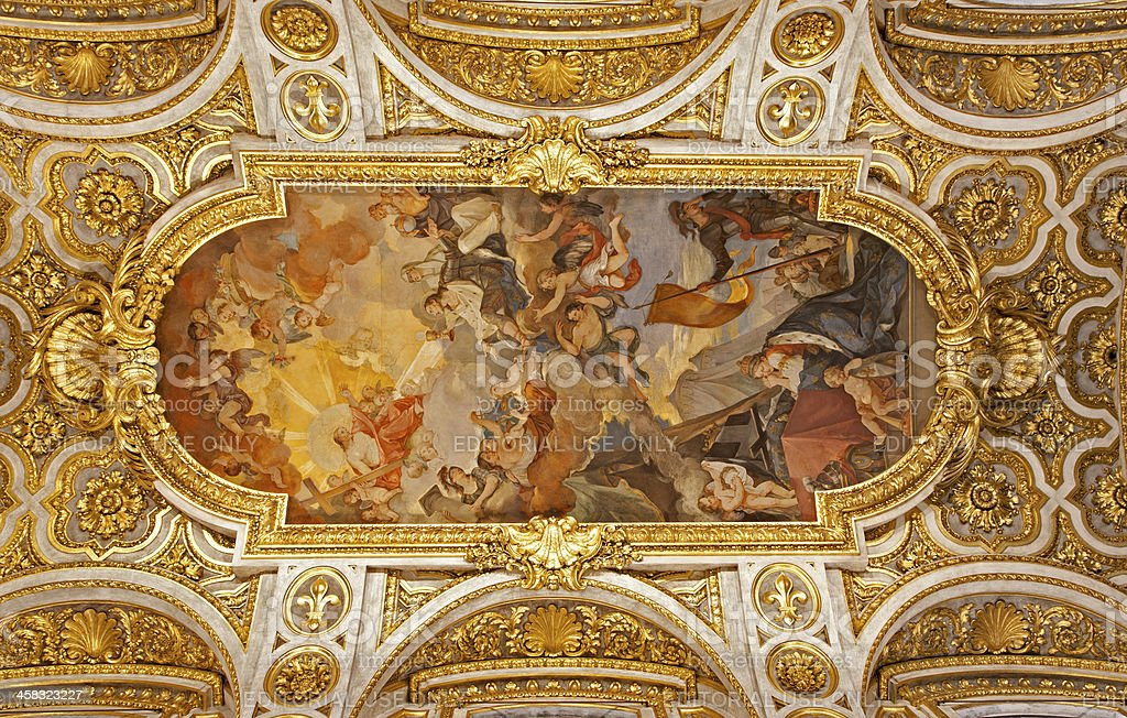 Rome - ceiling of San Luigi church royalty-free stock photo