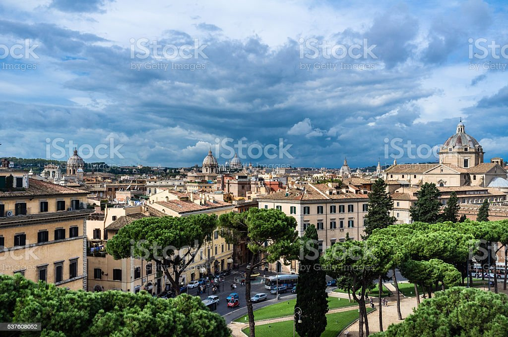 Rome city before thunderstorm, high view stock photo