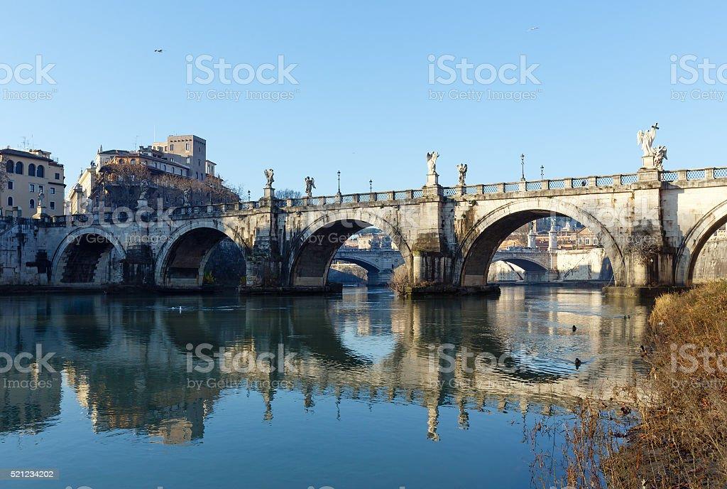 Rome city morning view, Italy. stock photo