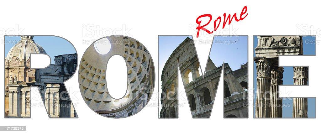 Rome - city name with landmarks in every letter. royalty-free stock photo