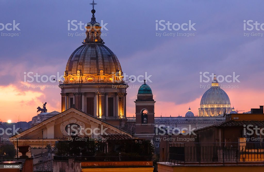 Rome City night view, Italy. stock photo