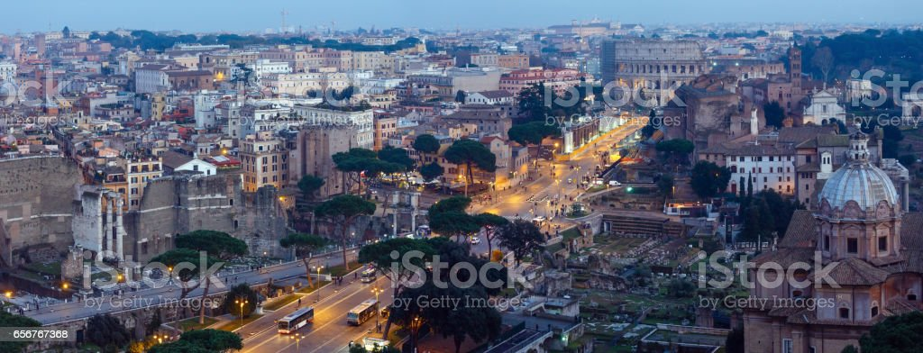 Rome City panorama, Italy. stock photo
