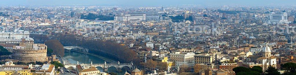 Rome city top panorama, Italy. stock photo