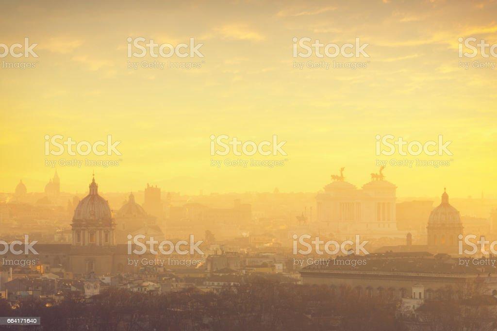 Rome cityscape at sunrise stock photo