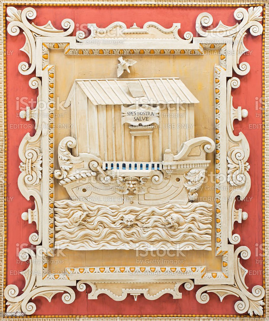 Rome - coffered carved symbolic Noah's Ark stock photo