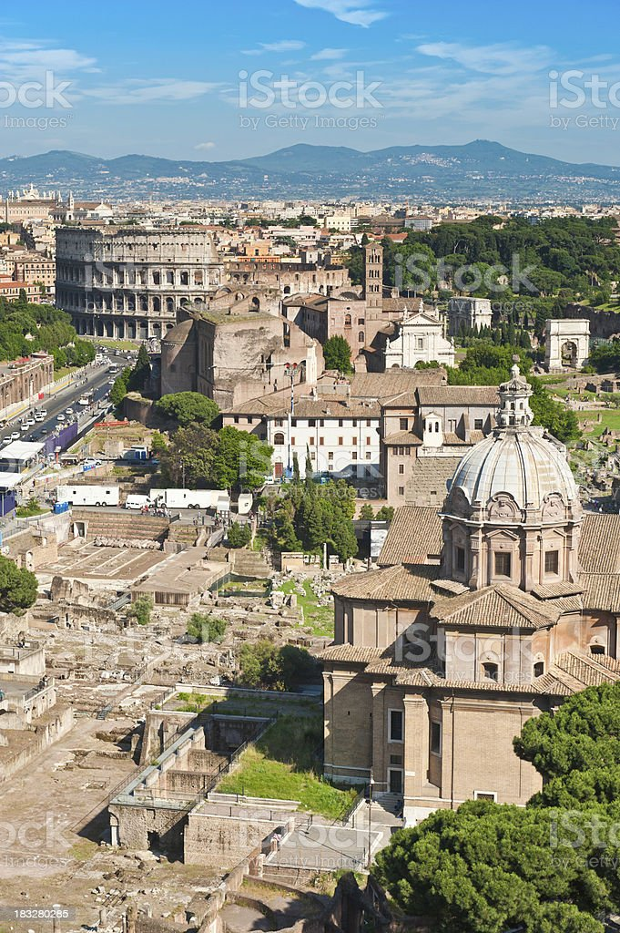 Rome Coliseum and ancient Roman Forum aerial rooftop cityscape Italy stock photo