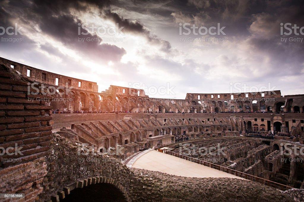 Rome Coliseum at Sunset stock photo