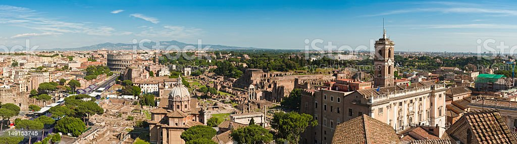 Rome Coliseum Capitoline Museums Roman Forum Palatine Hill panorama Italy royalty-free stock photo
