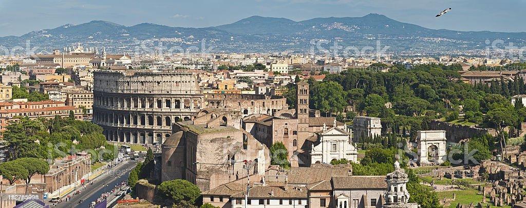 Rome Coliseum Colosseo Forum Palatine Hill aerial cityscape pano stock photo