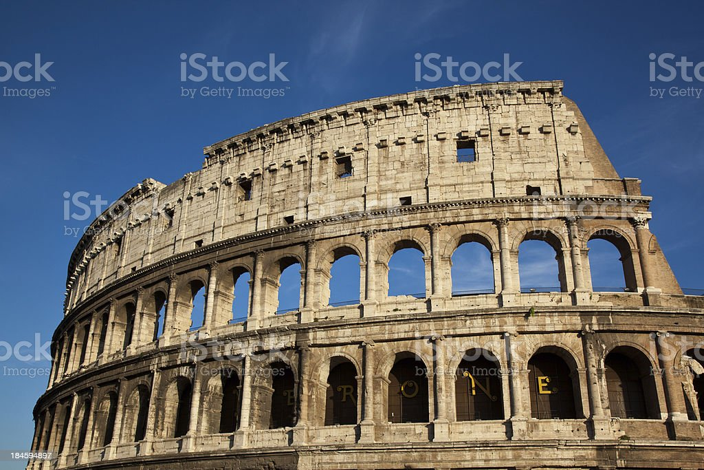 Rome Coliseum on blue sky, Italy royalty-free stock photo