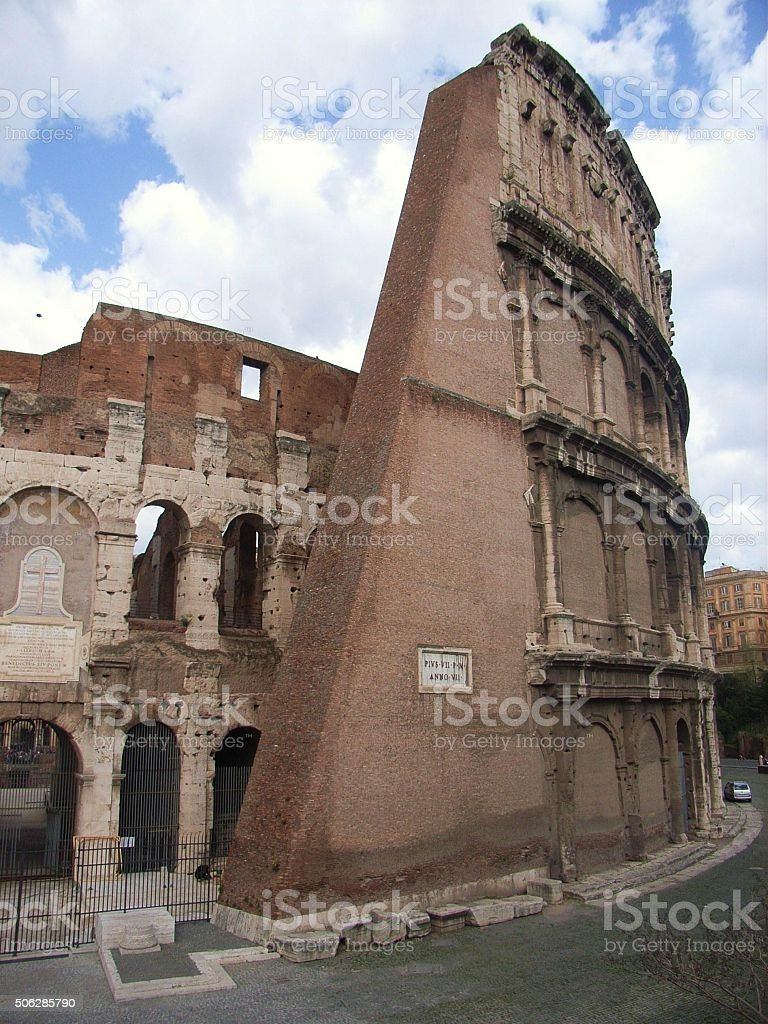 Roma - Contrafforte del Colosseo stock photo