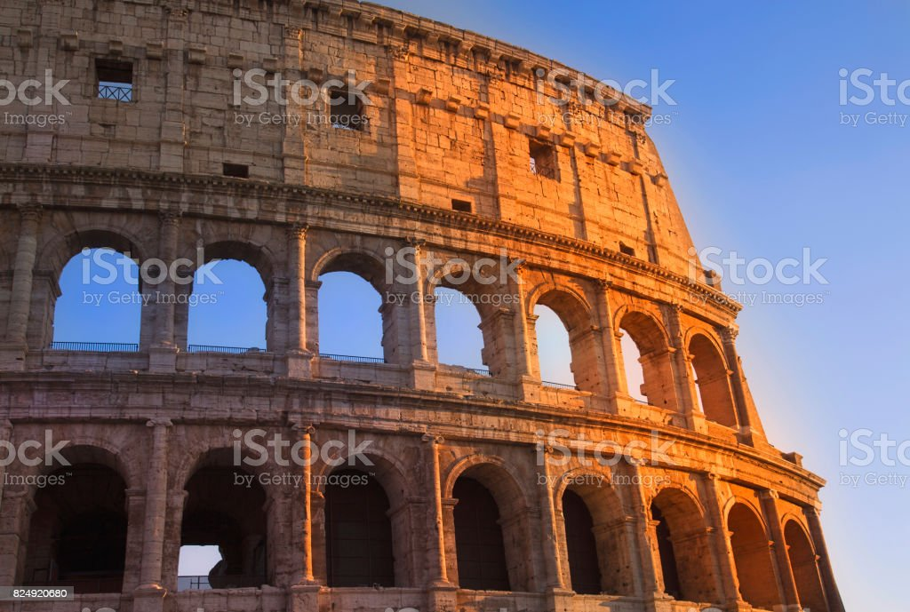 Rome, colosseum on a sunset stock photo