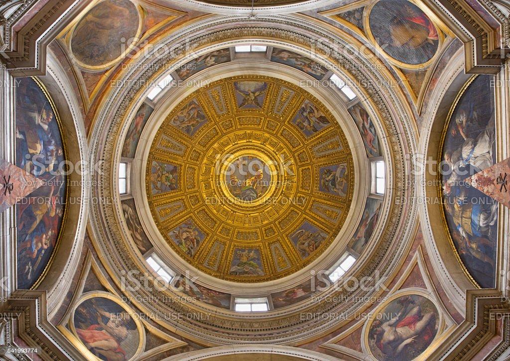 Rome - cupola in Basilica di Santa Maria del Popolo. stock photo