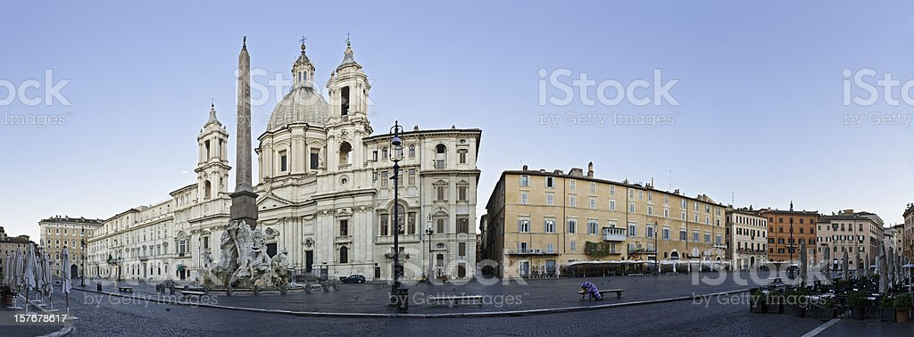 Rome dawn in Piazza Navona quiet cobbles still fountains Italy stock photo