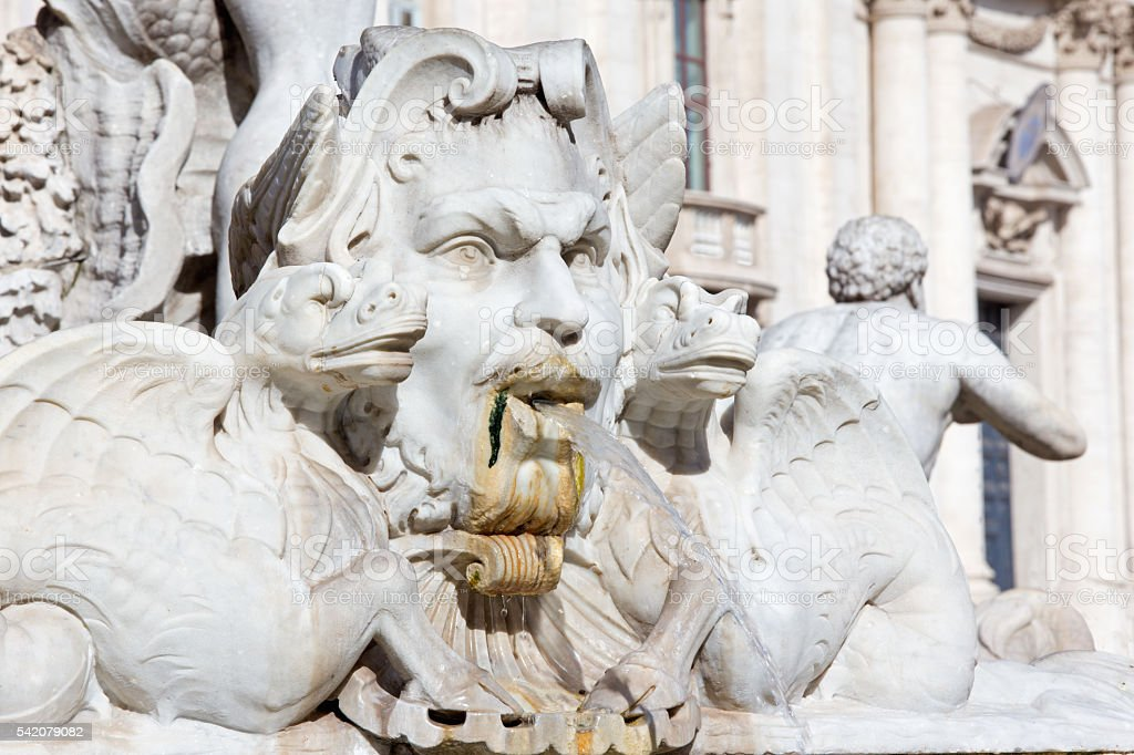 Rome - detail from Fontana del Moro on PIazza Navona stock photo