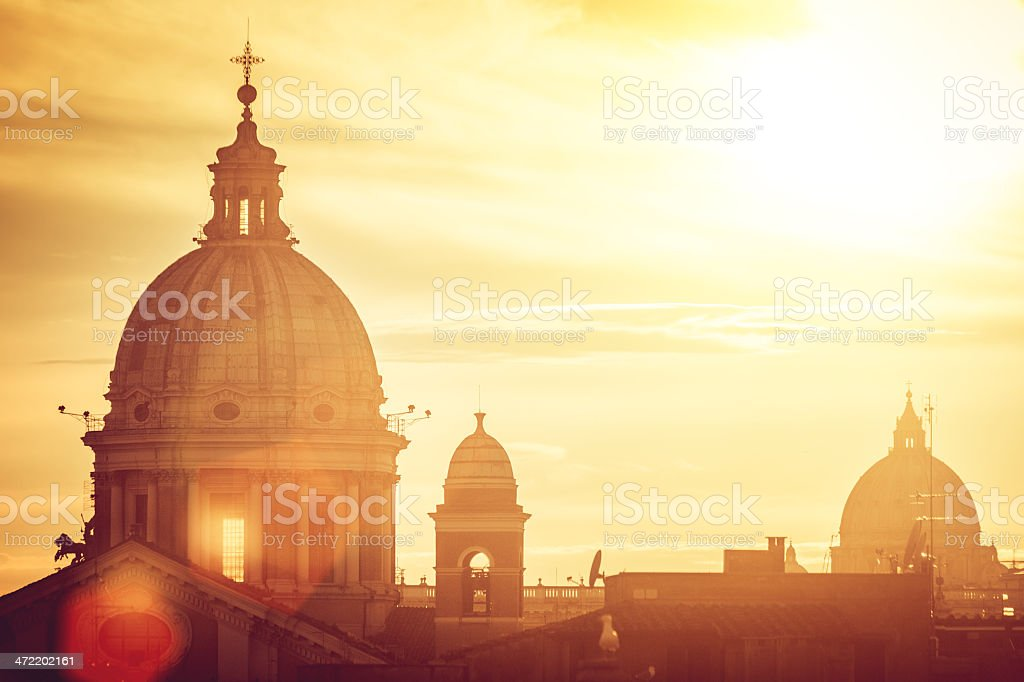 Rome Dome from Pincio Hill stock photo
