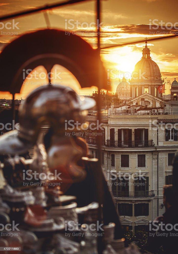 Rome Dome from Pincio Hill stock photo