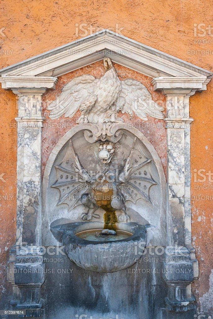 Rome. Dragon-shaped fountain in Via della Conciliazione stock photo