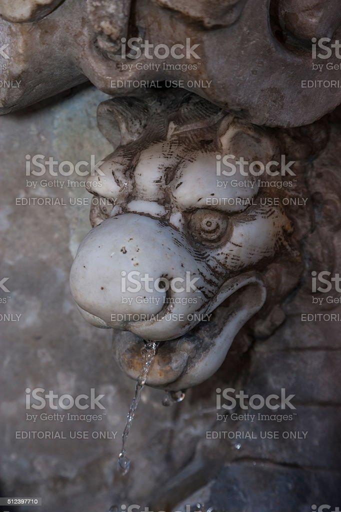 Rome. Dragon-shaped fountain in Via della Conciliazione (detail) stock photo