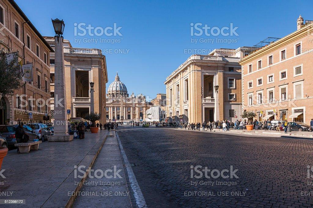 Rome. Facade of St Peter from Via della Conciliazione stock photo