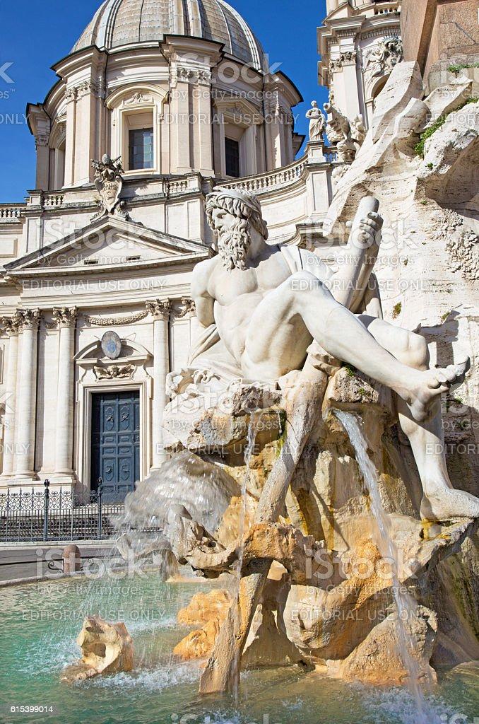 Rome - Fontana dei Fiumi and Santa Agnese in Agone stock photo