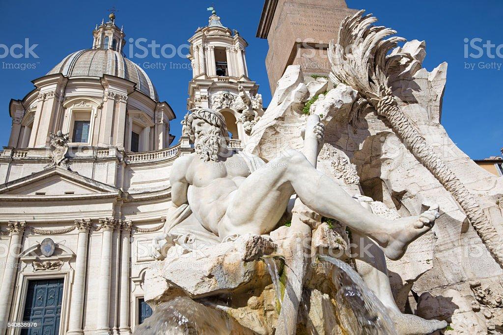 Rome - Fontana dei Fiumi by Bernini on Piazza Navona stock photo