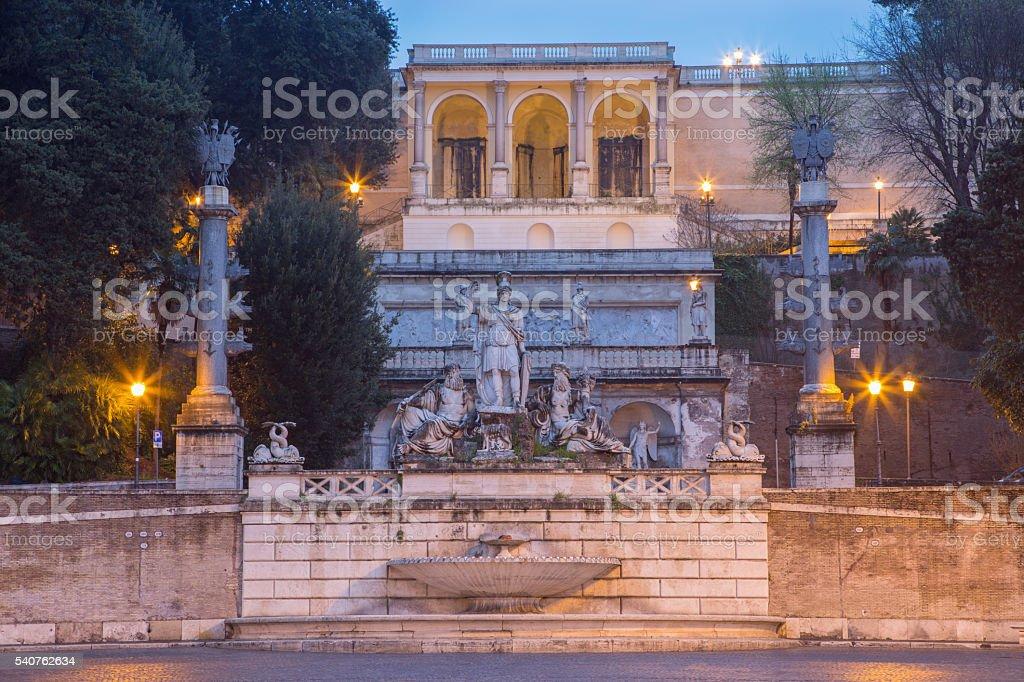 Rome - Fontana del Nettuno on Piazza del Popolo stock photo