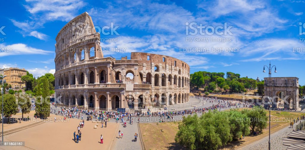 Rome (Italy) - Fori Imperiali and Colosseum stock photo