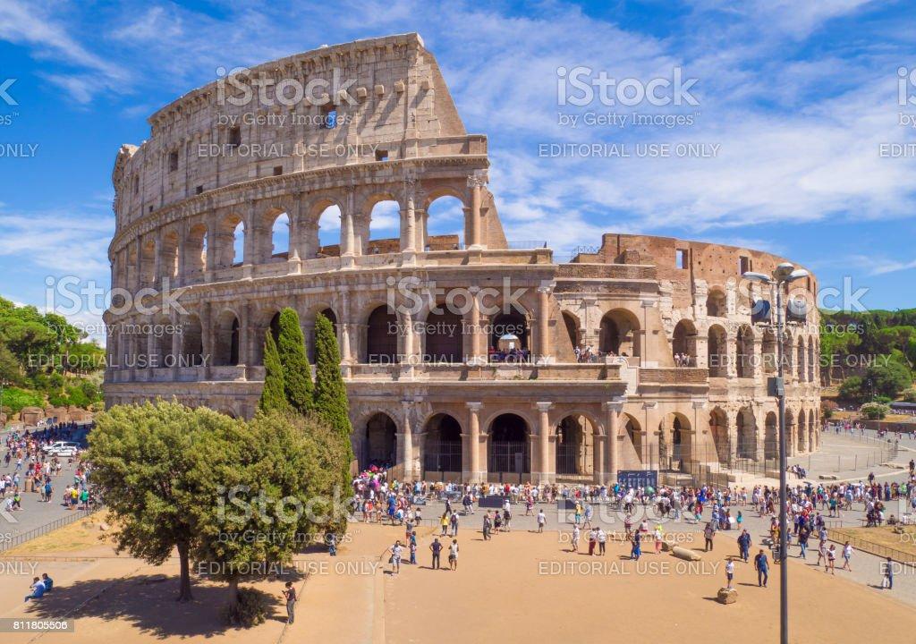 Rome (Italy) - Fori Imperiali and Colosseum stock photo
