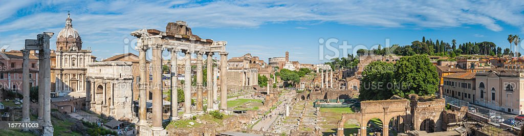 Rome Forum crowds amongst the ancient ruins stock photo