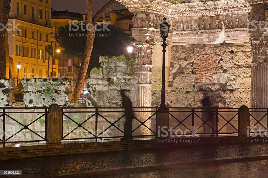 Rome - Forum of Nerva and the silhouette at night stock photo