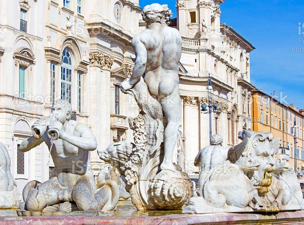 Rome - fountain Fontana del Moro on Piazza on Navona stock photo