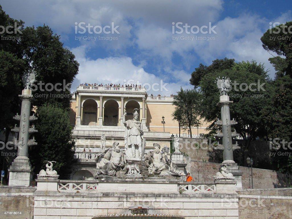 Rome, Fountain Fontana della dea Roma in Italy stock photo