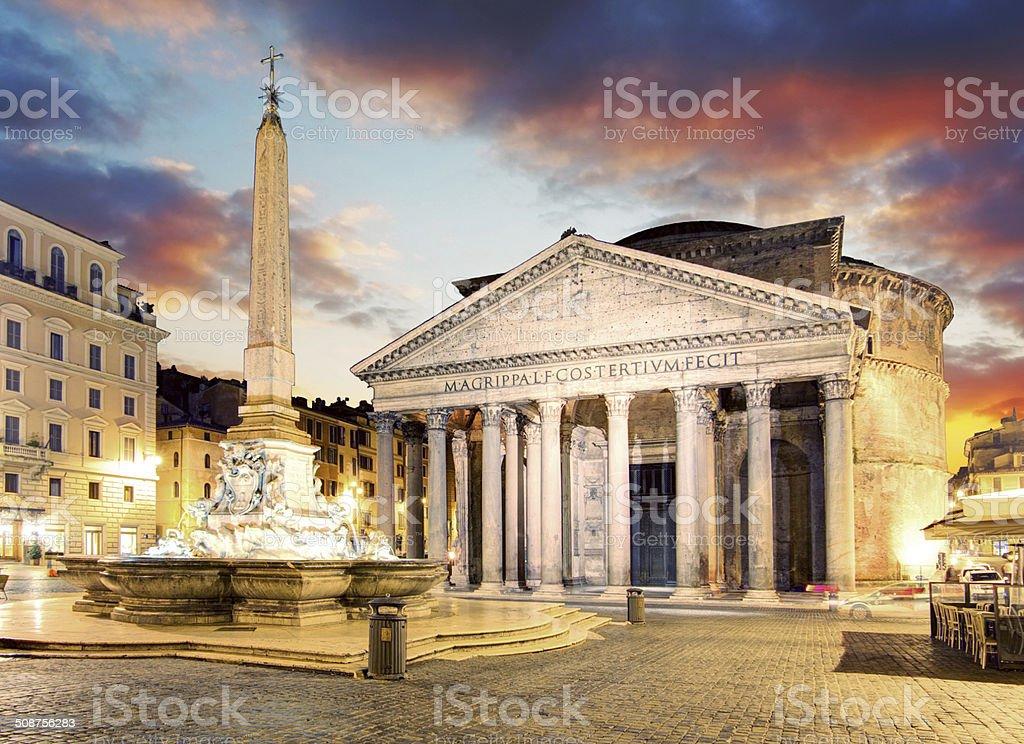 Rome - fountain from Piazza della Rotonda and Pantheon stock photo