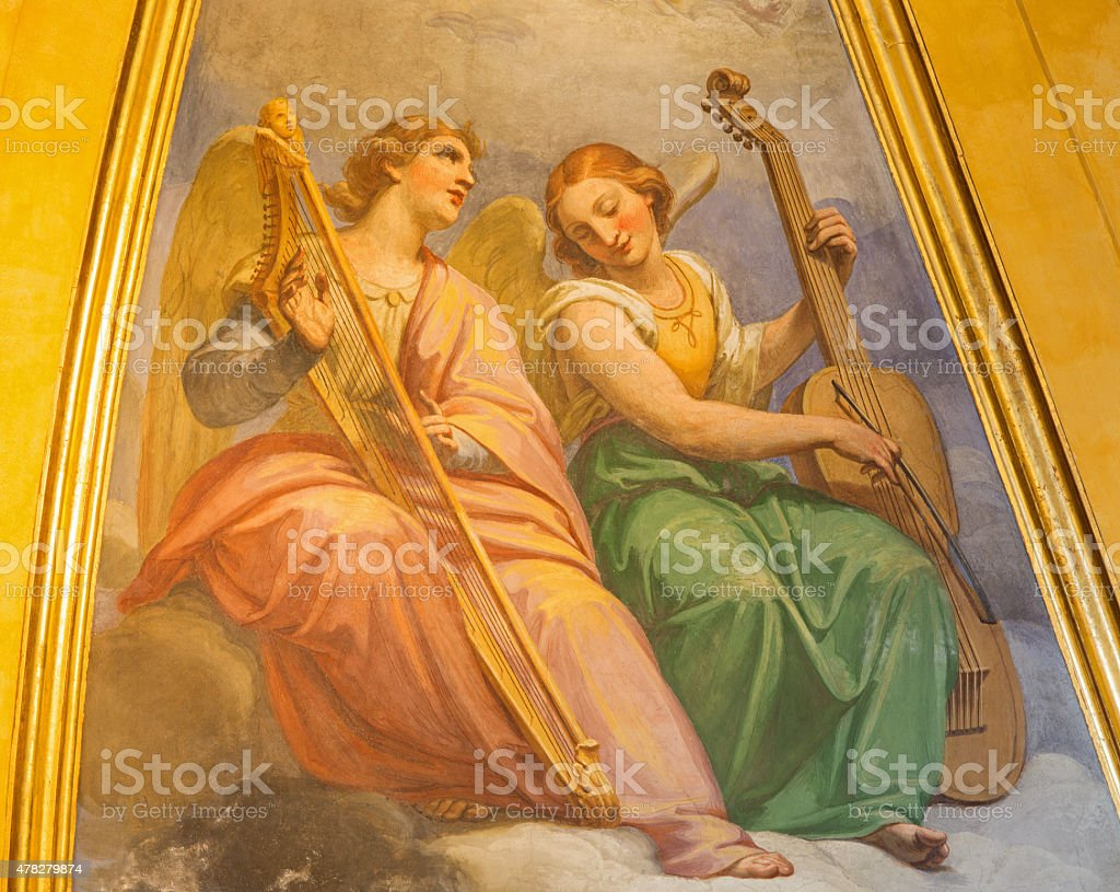 Rome - fresco of angels wiht the music instruments stock photo