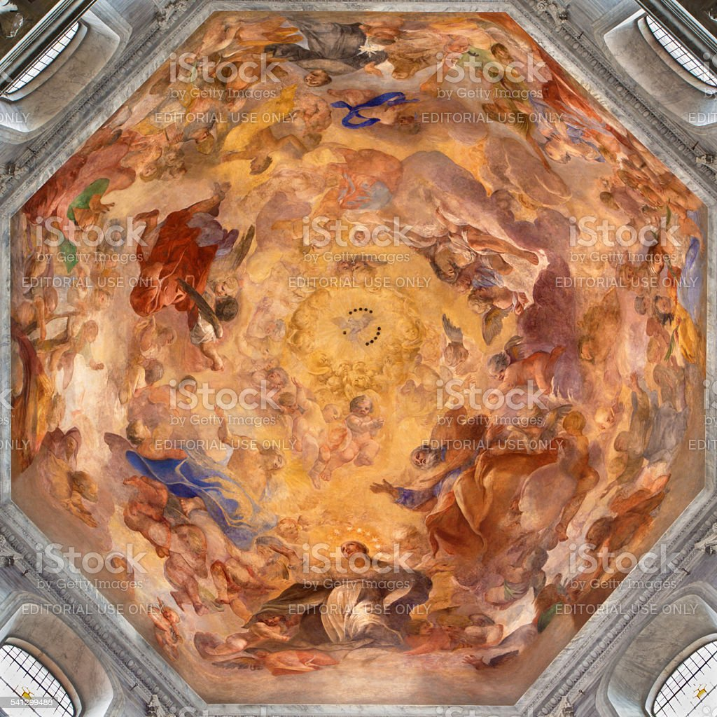 Rome - fresco Our Lady in Glory by Raffaele Vanni stock photo