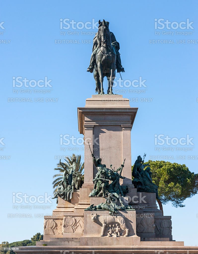 Rome. Garibaldi Monument on the Janiculum hill stock photo