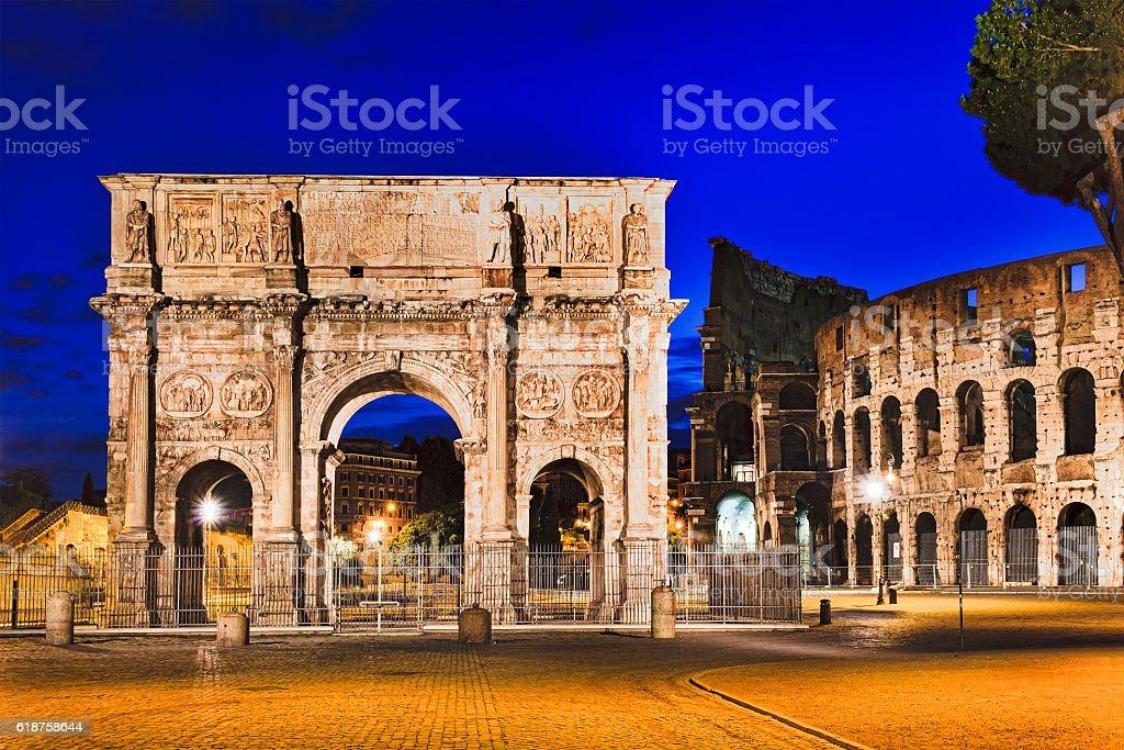 Rome Gate Coliseum Rise stock photo
