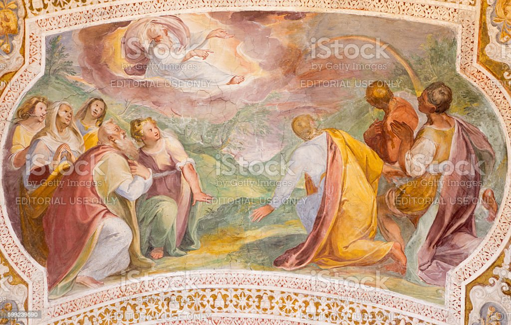 Rome -  God's Covenant with Noah in the Rainbow stock photo