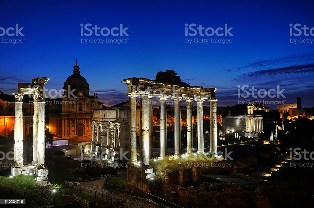 Rome - Imperial Fora by Night stock photo