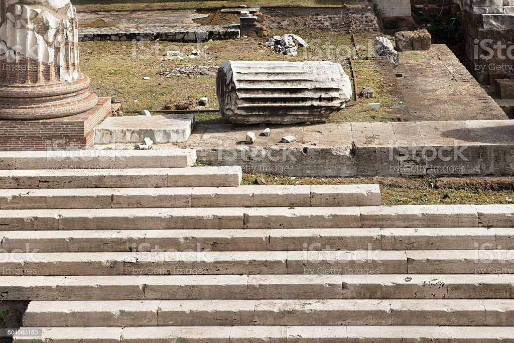 Rome, Imperial Fora, Forum of Augustus, Stairway, Detail CloseUp stock photo
