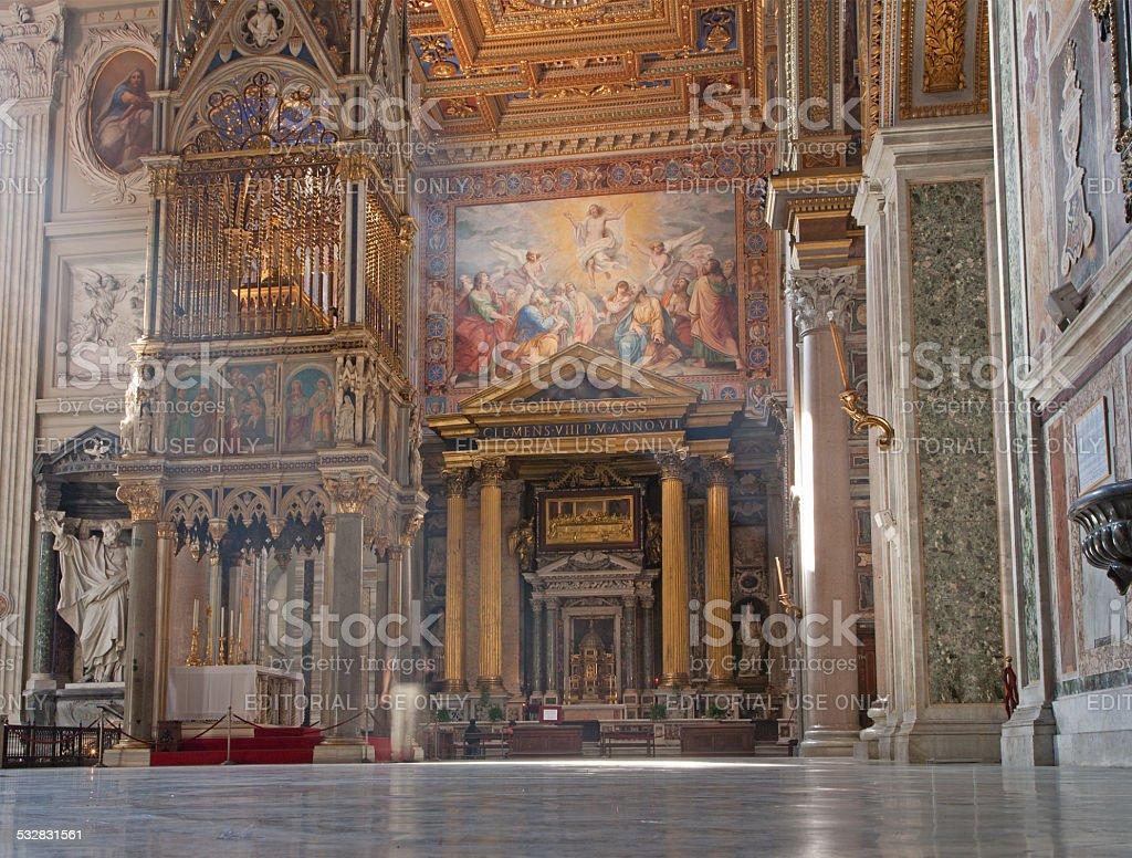 Rome - Interior of John Lateran's Archbasilica stock photo