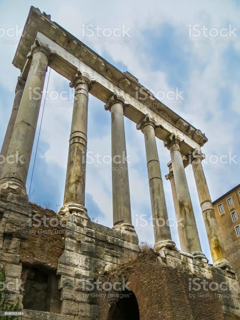 Rome, Italy - 08/13/2012 - Rome, Italy - Ancient Roman Forum Temple of Saturn stock photo