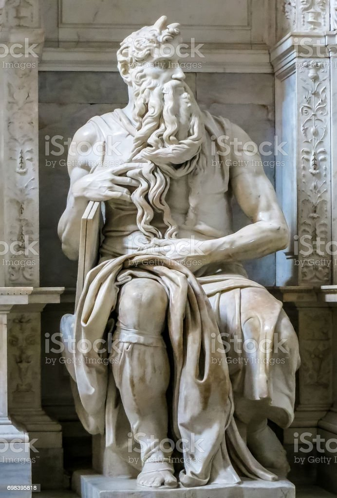 Rome, Italy - 08/13/2012 - Rome, Italy - Peter In Chains - Michelangelos Tomb for Pope Julius II Moses Sculpture stock photo