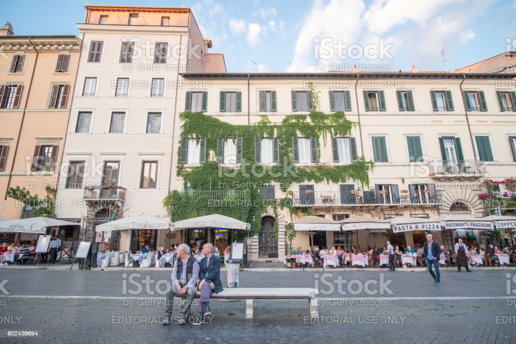 Rome, Italy. 17 May 2017 : Tourists walking around Piazza Navona, the beautiful square in Rome. stock photo