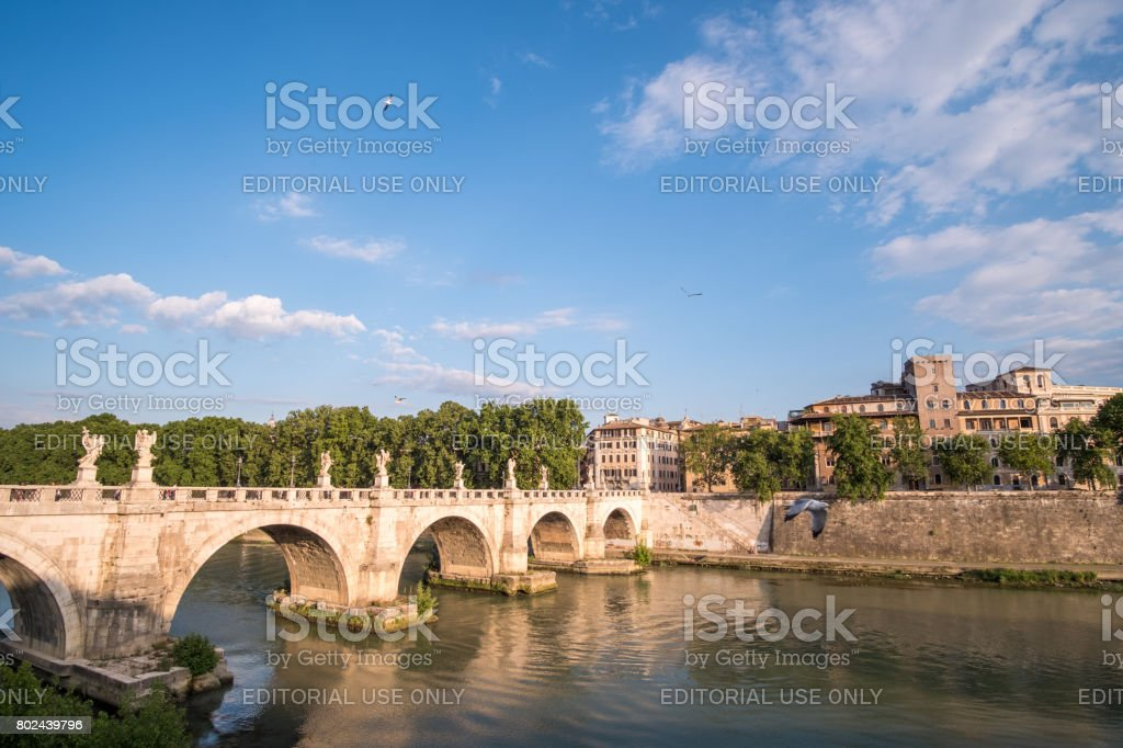Rome, Italy. 17 May 2017 : View of Castel Sant'Angelo or Mausoleum of Hadrian on Sant'Angelo bridge along Tiber River. stock photo