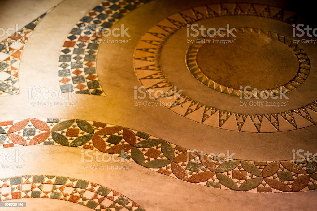 Rome, Italy: Ancient Church Floor Tile Spiral Pattern stock photo