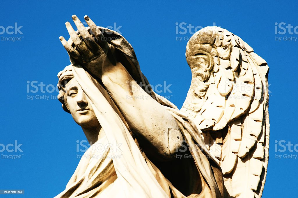 Rome, Italy: Angel Sculpture on Ponte Sant' Angelo (Close-Up) stock photo
