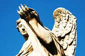 Rome, Italy: Angel Sculpture on Ponte Sant' Angelo (Close-Up)